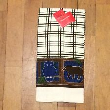 Woodland Owl Bear Deer Border Plaid Print Kitchen Towel - Pine Green Brown Blue