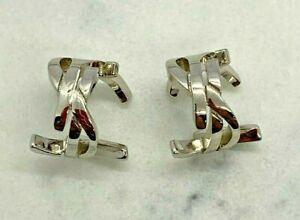 Auth YSL Yves Saint Laurent Logo Silver Cuff Hoop Earrings - Pre owned / W2182