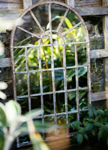 Garden Wall Mirror Gothic Arch Metal Frame Rustic Hanging Window Pane Outdoor