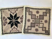 Pair Vintage Hand Embroidered Tapestry Cushion Covers Stool Seat Wool Cotton