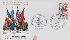 ENVELOPPE PREMIER JOUR - 9 x 16,5 cm - ANNEE 1965 - VICTOIRE 1945 PARIS