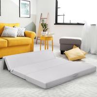 "4"" Twin Full Queen Size Foam Folding Mattress Sofa Bed Guests Floor Mat Handles"