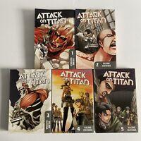 Attack on Titan Vol 1-5 English Manga Lot EUC