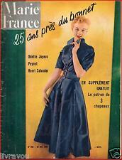 ▬►Marie France 365 (1951) MODE_PEYNET_ODETTE JOYEUX_HENRI SALVADOR_ + PATRON