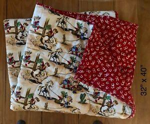 Vintage Western Cowboy / Rodeo / Cactus Cotton Baby Blanket / Quilt * Excellent