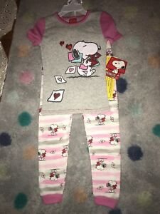 Girls Pajamas Peanuts Snoopy Valentine Long John NWT