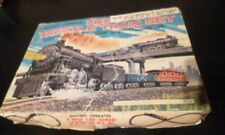 VINTAGE TIN & PLASTIC TWO TRESTLE TRAIN SET B/O LITHO BOX  MARX 60s MIB JAPAN