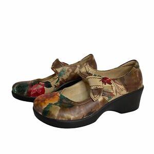 ALEGRIA Ella Western Romance Size 36 Leather Floral Mary Jane Wedge Comfort Shoe