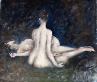 Original oil painting 2 nude females in impressionistic setting canvas 21x24