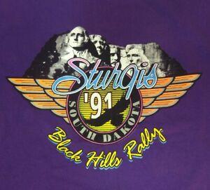 Purple BLEACHED 1991 VTG Sturgis Black Hills, SD Motorcycle Rally XL T-shirt