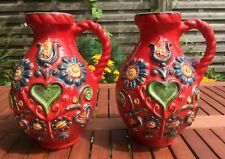 W-Germany BAY Ceramic  Red Flowers Design  50s 60s pitchers vases