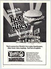 "WENDY'S HAMBURGERS 8"" X 11"" Magazine Ad 1970's M41"