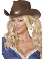 BROWN COWGIRL HAT LADIES WILD WEST COWBOY RODEO FANCY DRESS