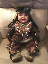 """Cathay Collection Porcelain Native American Baby Boy """"Barton"""" Indian Doll 22"""""""