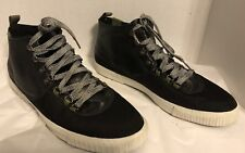 size 13  Lacoste Ampthill Lace Up Black Leather Hi Top Sneakers Mens Shoes NWOB