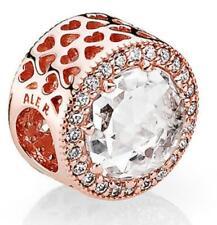 Authentic Pandora Rose Gold Clear CZ Radiant Hearts Charm Bead #781725CZ