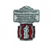 Visor Clip St Florian Firefighter Medal Enameled & Prayer Silver Pewter Catholic