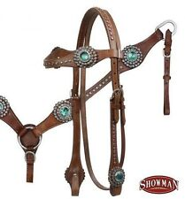 MEDIUM OIL Bridle, Breastcollar and Reins Set w/ TEAL Rhinestones NEW HORSE TACK