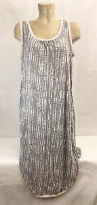 "Secret Treasures Pajama Nightgown L Large 12 14 23"" Gray White Pink Rayon"