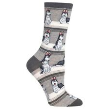 Hot Sox HO002768 011 GRAY HUSKY STRIPE Size 9-11 Ladies Socks