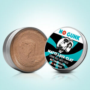 NO GUNK Matte Lava Clay - 100% Natural Men's Hair Styling Clay - Strong Hold