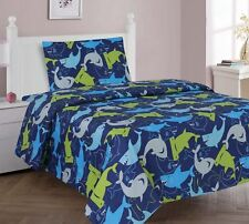 2pc Blue Shark Youth Twin Sized Quilt Quilted Bedspread Set Bedding