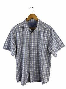 Highlander Men's Button Shirt Size 2XL Blue Check Short Sleeve Collared Casual
