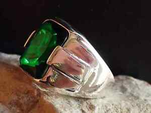 Solid Sterling 925 Silver Handcraft Jewelry Brazil Emerald Men's Ring