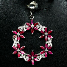NATURALPINK RUBY &  WHITE CZ PENDANT 925 STERLING SILVER