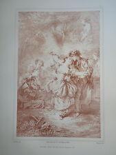 D'AP. F. BOUCHER 1703-1770 LITHO XIX° SANGUINE MUSIQUE AMOUR ROMANTIQUE ROCOCO