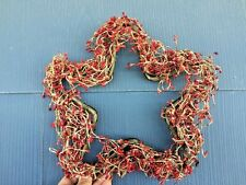 STAR RED 12 Inch Small Pip Berry Wreath Metal Base UNIQUE ANTIQUE PRIMITIVE