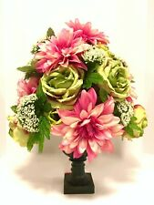 Spring Floral Arrangement Centerpiece Green Roses and Pink Dahlia 22x16