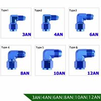 AN Female to AN Male Swivel Flare Bulkhead Fitting Adapter Elbow 90 Degree Union