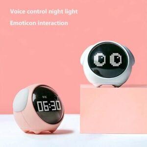 Kreativ Wecker LED Pixel Wecker Uhr Sprachsteuerung Nachtlicht USB-Aufladung