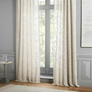 """Brand NEW West Elm Sheer Abstract Glass Curtain Pole Pocket 96"""" One Panel Tan/Be"""