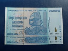100 TRILLION ZIM NOTE / 100 TRILLION DOLLAR ZIMBABWE CURRENCY 2008 AA /ONE NOTE