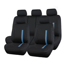 Universal Sporty Car Seat Cover Blue Breathable Split Rear Airbag Compatible 9pc
