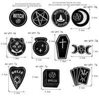Witches Black Moon Coffin Shabab Spells Brooches Badges For Lapel Enamel Pin