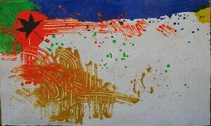 Renzo Nucara serigrafia polimaterica con incisioni Natura Ritrovata 120x75 2004