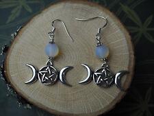 Triple Moon & Pentagram Earrings - Goddess - Moon - Witchcraft - Pagan - Silver