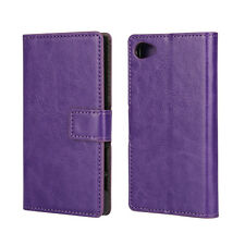 For Sony Xperia Z5 Compact Leather Wallet Card Flip Case Cover Stand Purple
