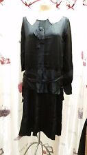 Vintage 1920's Black Rayon Satin & White Lace Flapper Dress Size Small Medium