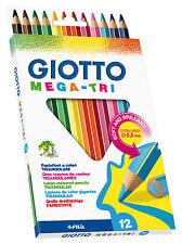 12 x Giotto Mega-Tri SUPER JUMBO MATITE COLORATE-TRIANGOLARE - 5.5 mm piombo