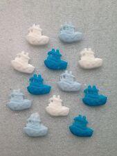 Edible fondant icing cake topper - boats blue/white x 12