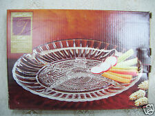 "Trellis Crystal Clear 8 1/2"" Oval Glass Sectional Vegetable Tray In Original Box"