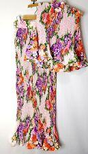 Vtg 70s Union Made Trippy Floral Sleeveless Pleated Top Pleat Skirt Secretary