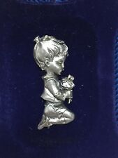 Vintage Genuine Pewter Framed Miniature Plaque Italy Boy Flowers Pray Religious