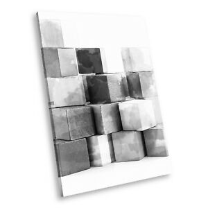 AB851 Cubes Black White Abstract Portrait Canvas Picture Prints Small Wall Art