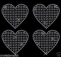 4x100mm filled Heart iron on Rhinestone Transfer crystal hotfix t-shirt transfer
