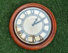 """Bulova Quartz 16"""" Wall Clock Solid Oak Wood Roman Numerals C3462"""